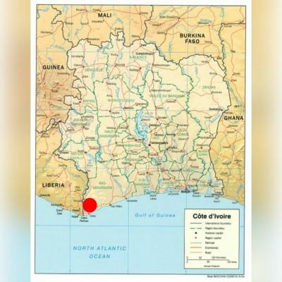 Point rouge: region du bassassandra, sur la carte de cote d'ivoire
