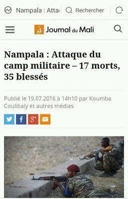 Attaque du camps militaire de Nampala, journal du Mali.
